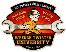 Busted Knuckle Garage Mechanic Wrench Metal Sign Man Cave Shop Club BUST129
