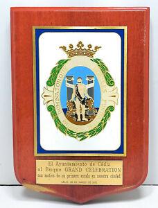 """Vintage Antique Wooden Plaque & Sign """"Buque GRAND CELEBRATION"""" For Decoration"""