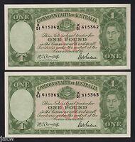 Australia R-30b. (1942) 1 Pound - Armitage/McFarlane..  UNC - CONSEC Pair