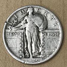 1920 Standing Liberty Quarter 25c - F - Fine - Rim Nicks