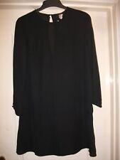 H&M SMART BLACK SHEER LONG SLEEVE TUNIC SHIFT DRESS -BACK BUTTON PEEPHOLE DETAIL