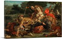 ARTCANVAS The Lion Hunt 1854 Canvas Art Print by Eugene Delacroix
