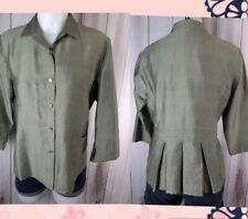 J Jill Womens Silk Shirt 6P Small Green Slubbed 100% Silk Pintuck Back Bottom