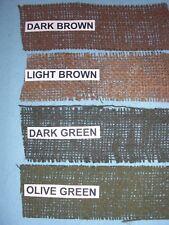 """6 feet each of WWII US Army BROWN, OLIVE, DK GREEN, & LT BROWN 2"""" Burlap Scrim"""