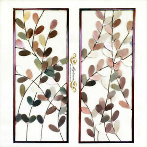 Pair Leaves Metal Wall hanging Sculpture Classic Home Decor Hand made Wall art