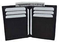 New Men's Genuine Leather Black Thin Slim ID Credit Card Money Holder Wallet.