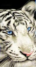 White Tiger with Blue Eyes Beach Towel