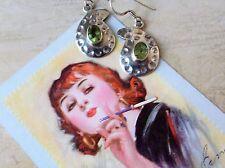 Vintage 1990s Sterling Silver & Peridot Dangle Earrings