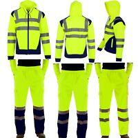 Hommes Haute Visibilité Vert Pantalon Sécurité Travail Vêtement Jogging Capuche
