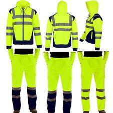 MENS HI VIS VIZ GREEN TROUSERS SAFETY WORK WEAR JOGGING BOTTOMS PANTS HOODIE TOP
