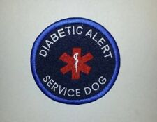 "Embroidered Sew-On 3"" Blue Service Patch-DIABETIC ALERT SERVICE DOG"