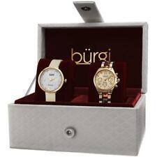 Burgi BUR134YG GMT Day Date Diamond Dial Strap Bracelet Womens Watch Set