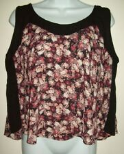 xhilaration womens top size xl pink black floral loose flowy sleeveless blouse