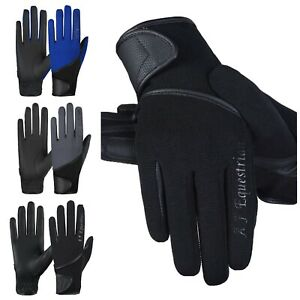 Equestrian Horse Riding Gloves LADIES Synthetic Leather Cotton Dublin Black Mens
