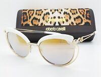 NEW Roberto Cavalli sunglasses RC1032 21C 56mm Gold Mirror White AUTHENTIC women