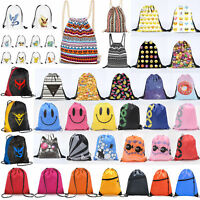 Drawstring Gym Bag School Library Swimming Travel Adults Kids Sports Backpack D