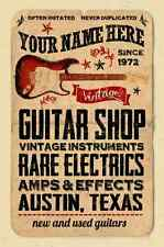 YOUR NAME on a guitar repair shop poster Personalized  Cool! austin texas