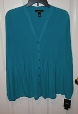Alfani Teal Accordian Fabric Split V-Neck Long Sleeve Blouse - 14 - NWT