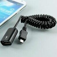 ( OTG Data  Spiral Sync Cable ) Black USB A Female Micro USB 5 Pin Male Adapter