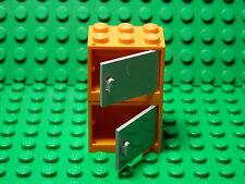 LEGO 2 New  Orange Container Cupboard Light Bluish Gray Door 2x3x2 Harry Potter