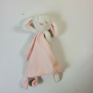 Carter's Bunny Rabbit Lovey Security Blanket Pink White Pacifier Holder Knotted