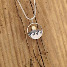 Sterling Silver Mountain Waves Sun Charm Necklace Surf Adventure Travel Boxed