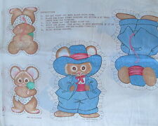 """Vtg 80s baby toy cotton fabric panel MOUSE family mom dad baby 6"""" 9"""" cut n sew"""