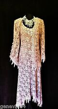 New ANN BALON Size 12 14 16 Pink Silvery Grey Lace Wedding Dress & Jacket Outfit