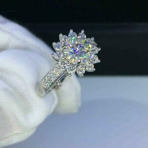 2.10Ct Round Cut Simulated Diamond Snowflake 14K White Gold Over Engagement Ring