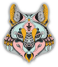 Patterned Fox Head Animal Car Bumper Sticker Decal 4'' x 5''