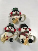 Vintage Set of 3 Snowman Napkin Ring Holders Table Decor Christmas Winter