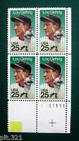 Sc # 2417 ~ PL # BLK ~ 25 ct AMERICAN SPORTS ISSUE, LOU GEHRIG (dc23)