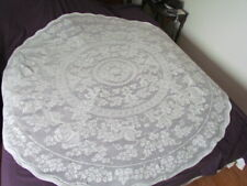 """New 70"""" Round Small Vintage Quaker Type lace Grapes Tablecloth Cotton  white"""