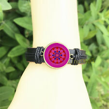 mm Glass Cabochon Leather Charm Bracelet Pink Diamond Mandala Black Bangle 20