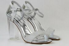 Women Sexy Shoes Clear High Thick Heels Glitter Weeding Bride Party Shoes