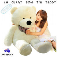 HUGE 2M GIANT WHITE TEDDY BEAR BOW TIE CUDDLY SOFT PLUSH TOY DOLL STUFFED
