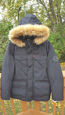 NWT  Levi's Men's Puffer Parka w/ Faux Fur Hood  Sz. Small  Black  NEW  $250
