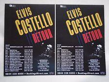 """ELVIS COSTELLO .... Live in Concert """"Detour"""" UK Tour 2015. Promo tour flyers x 2"""