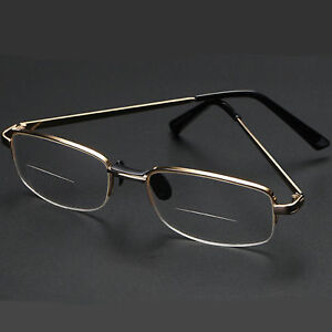 New Bifocal Reading Clear Glasses Men Women Quality 1.25 4.00 Metal Frame