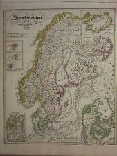 1846 SPRUNER ANTIQUE HISTORICAL MAP SCANDINAVIA CALMARISCHEN UNION 1397 DENMARK