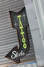 """3ft """"Green Tattoo Shop""""Custom Exit Arrow Vintage Sign Plaque Bar Shop Retail"""