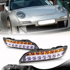 For 2004-2009 Porsche 911 997 Chrome Housing DRL LED Turn Signal Bumper Lights
