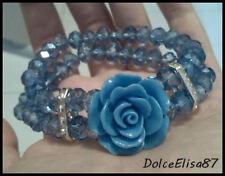 Braccialetto con rosa azzurra elegante! IDEA REGALO Festa della Mamma! Amore!
