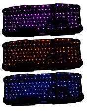 LED Full Illuminated Keyboard Red Blue Purple Multimedia USB UK Layout Gaming