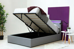 LED Ottoman Storage Bed Grey Fabric Single Double King Size    BSD
