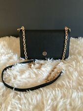 Tory Burch Robinson Leather Wallet on a Chain Black