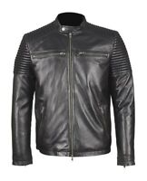 MENS BLACK BIKER TOP GRADED REAL LEATHER JACKET MOTORCYCLE PREMIUM QUALITY 42/XL