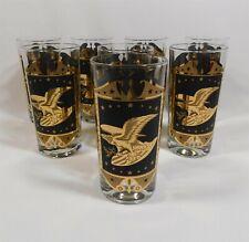 Set of 8 Gold Patriotic Eagles Black HighBall Glasses MCM Barware 1960s Era