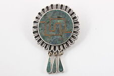 STERLING SILVER TAXCO HECHO EN MEXICO RVF BROOCH W/ GREEN INLAY STONE 925 3618