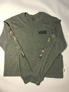 Vans New Butterfloral Long Sleeve Crop T-Shirt Youth Girl's Medium (10-12)